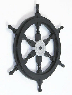 "Black Pirate Ship's Steering Wheel 24"" Wooden Nautical Wall Decor New"