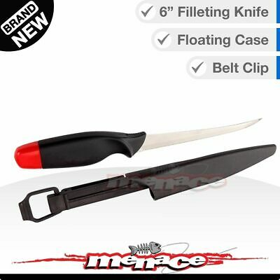 """6"""" Fish FILLETING KNIFE, Fishing Bait with Floating Case and Safety Clip Belt"""
