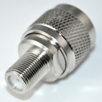 N type male plug to F female jack straight RF Coaxial adapter connector 1pc NEW