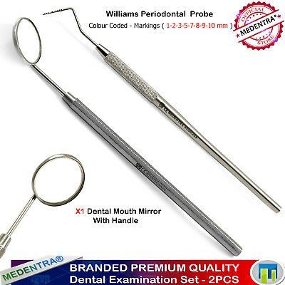 Periodontal Pocket Depth Color Coded Marking Dental Probe Williams Mouth Mirror
