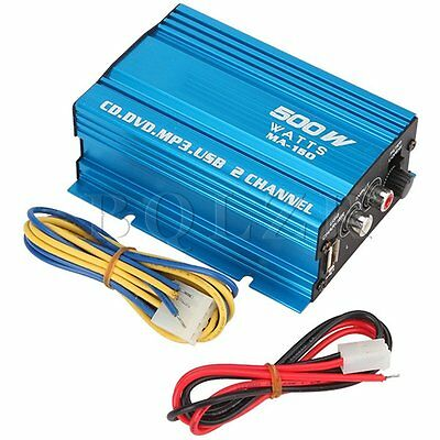 Mini Hi-Fi 500W 2 Channel Stereo Audio Amplifier for Car Motorcycle