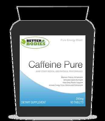 Pure Caffeine tablets 200mg Fat Loss Energy Better Bodies 90 tablets bottle