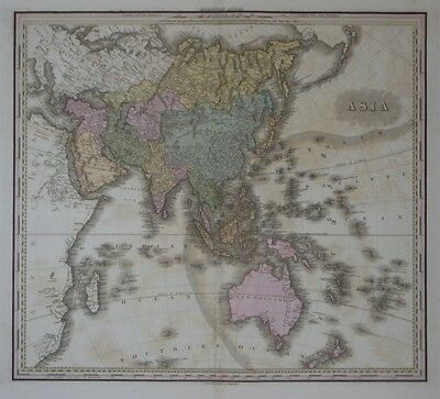 Original 1825 Henry Schenck Tanner Map ASIA China India Japan Korea Philippines