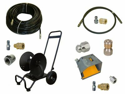 """Sewer Jetter Cleaner Kit - Foot Valve, 200' x 1/4"""" Hose, Reel and Nozzles"""