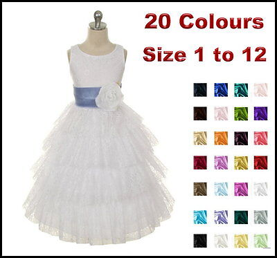 Lace White Flower Girl Dress Wedding Party Girls Dress Size 2 - 4 - 6