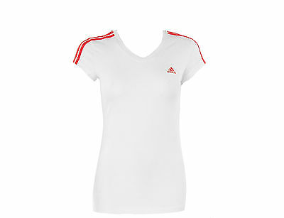 Adidas womens white pink cap sleeve v neck tennis sportswear t shirt Size 16
