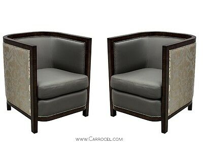 Pair of Custom Made Art Deco Zebrano Wood Parlor/Living Room Chairs