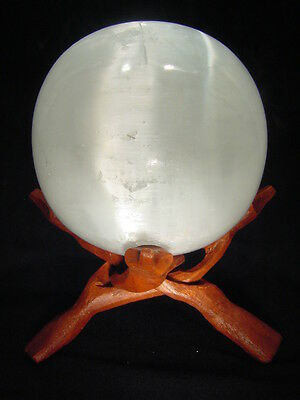 "BUTW- Naturally Luminescent Selenite 4.6"" Sphere with Stand Lapidary 7377E"