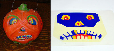 "Glassine Replacement Face For The ""fanged Jol"" Halloween Paper Mache Lantern #n"