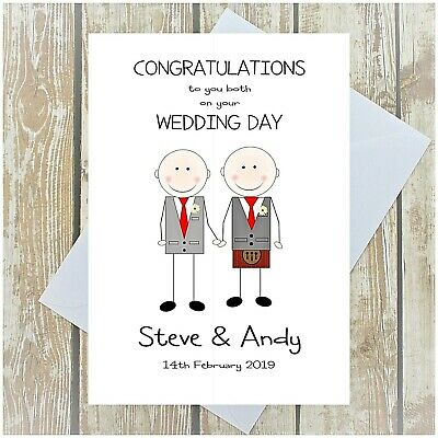 Gay Wedding Day Card Personalised Same Sex Wedding Kilts Suits Dresses Multi