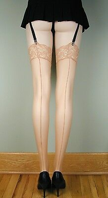SHEER LACE TOP Thigh High BACK SEAM Stockings NUDE O/S