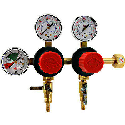 Separate Pressure Adjusting 2 Product CO2 Regulator- Polycarbonate Bonnet - Beer