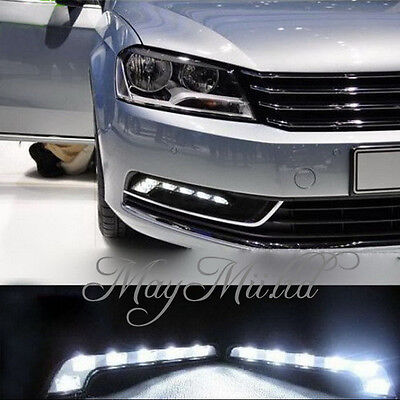 2X 6LED White Car Driving Lamp Fog 12V Universal DRL Daytime Running Light  H