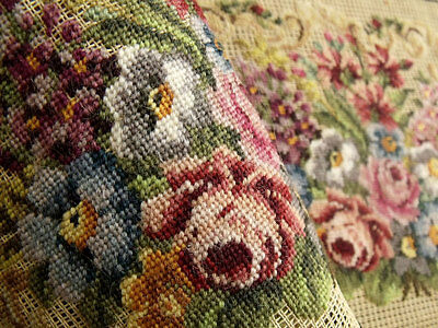 Vtg. PREWORKED Needlepoint Canvas all PETIT POINT ~Roses Victoria Purse Pretty!