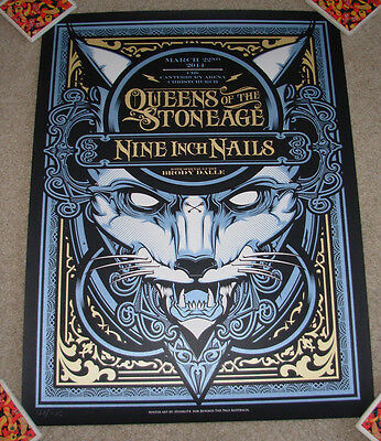 QUEENS OF THE STONE AGE Nine Inch Nails concert gig poster CHRISTCHURCH 3-22-14