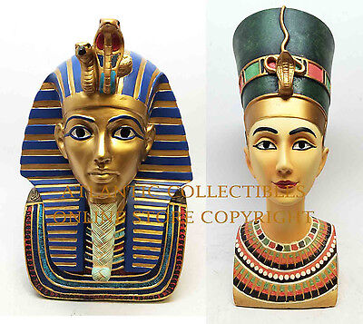 "Egyptian Pharaoh King Tut and Queen Nefertiti Bust Set of Two Figurines 9""H Each"