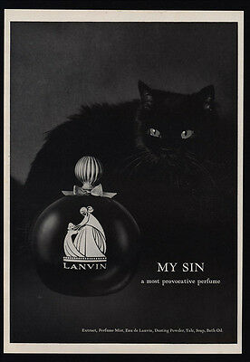 1966 LANVIN My Sin Perfume - Cute Black Cat - Provacative -VINTAGE ADVERTISEMENT