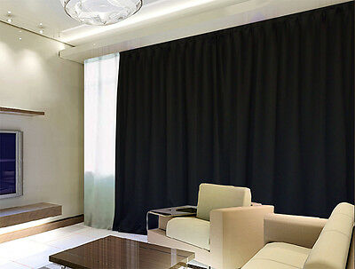 100% Blockout Curtain 270x230cm PINCH PLEAT Blackout High Level Fabric Black