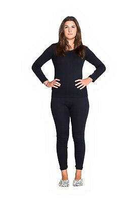 Thermals Ladies 2 Piece Set 100% Pure Cotton Thermal Long Sleeve & Pants Black