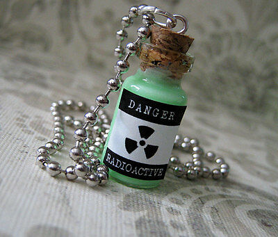 Radioactive Glass Bottle Necklace - Halloween Danger Toxin Poison Potion Charm