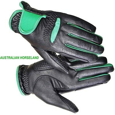 Horse Riding Gloves - Black and Green
