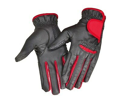 Horse Riding Gloves - Black and Red