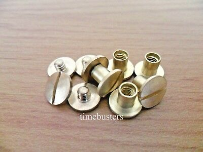 100 Solid Brass Binding Chicago Screws Posts Interscrew 6mm For Swatches, Crafts
