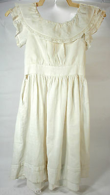 Early 1900's Antique Little Girl's Dress Cotton Homemade Bobbin Lace Loop & Hook