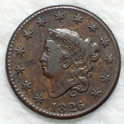 1826 over 5 1826/5 CORONET Large Cent *RARE* OVERDATE VF+/XF Detailing Authentic