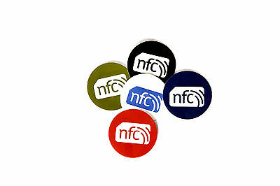 5 Colour NFC Stickers Tags  30mm Round: NTAG213 : Android Windows Samsung Sony