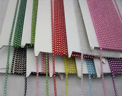 A Grade 2mm AB glass crystal Rhinestones lot color banding chain 10Yards ss6