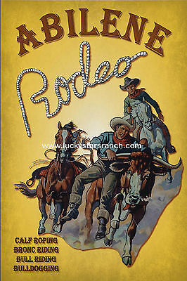 ABILENE RODEO  Cowboy Cowgirl Vintage Rodeo Posters Prints