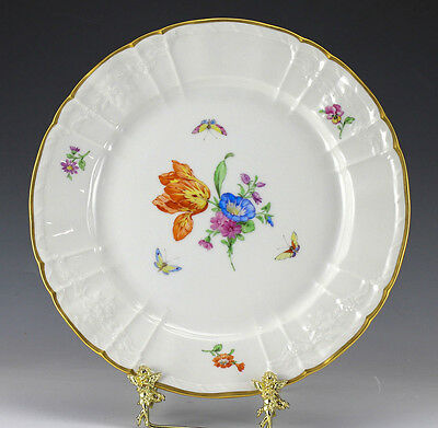KPM Porcelain Plate Hand painted with Gold trim. C1900, Floral and Butterflies