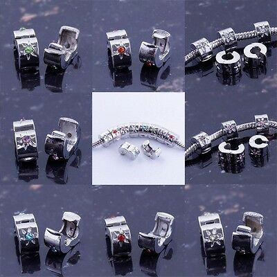 Lots Many Colors Crystal Star Stopper Clip European Beads Fit Charm Bracelet