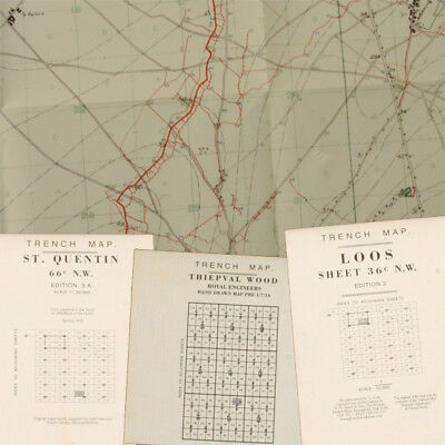 British WW1 Trench Maps 02, Reprint period Maps, ST Quentin, Loos, Thiepval Wood
