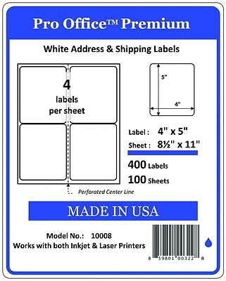 "PO08 Premium Shipping Labels Self Adhesive (4) Per Sheet 4""x 5"" PRO OFFICE"