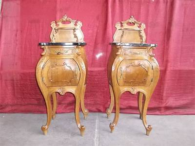 Beautiful Antique Pair Of Italian Marble Top Bedroom Set Night Stands -14It014C