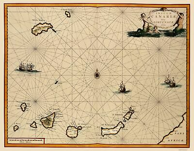Old Africa Map - Canary Islands - Ogilby 1667 - 23 x 29.56