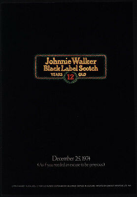 1974 JOHNNIE WALKER Black Label 12 Year Old Scotch - Christmas - VINTAGE AD