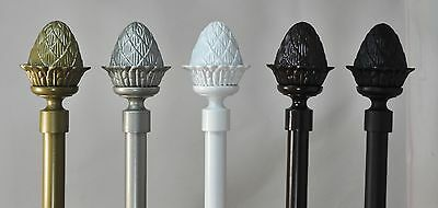 "Urbanest Artichoke Window Drapery Curtain Rod Set 5/8"" Diameter 3 sizes 5 colors"