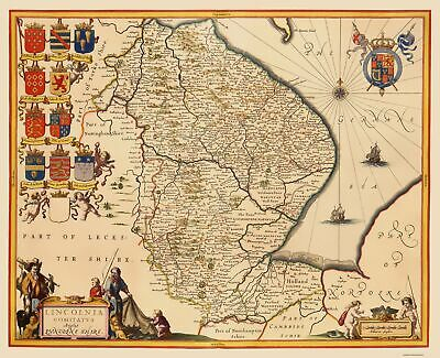 Lincolnshire County England - Jansson 1646 - 23 x 28.32