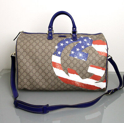 NEW Authentic Gucci Large Boston Travel Bag Duffle,American Flag. Limited,308264