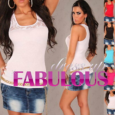 New Women's Lace Top Party Casual Evening Singlet Shirt Blouse 6 8 10 Xs S M