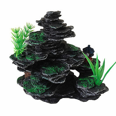 Aquarium Fish Tank Ornament Decoration - Small Rocks with Plastic Plants