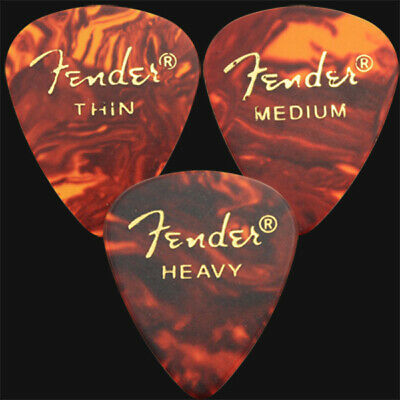 12 x Fender Classic Celluloid Guitar Picks In Tortoiseshell - 3 Of Each Size