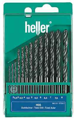 Heller 13 Piece HSS-R Drill Bit Set 2mm - 8mm Rolled Jobber Quality German Tools