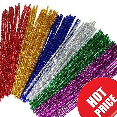 100 Chenille Craft Stems Tinsel Pipe Cleaners CHRISTMAS Mix Colours 290mm x 6mm