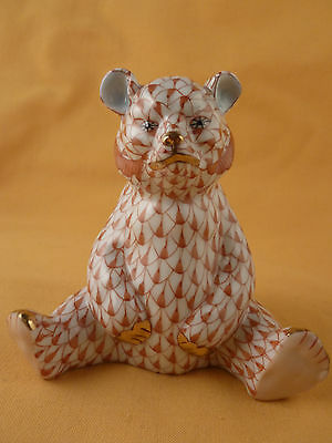 Herend Hungary Bear Rust And 24K Gold Fishnet Pattern Handpainted
