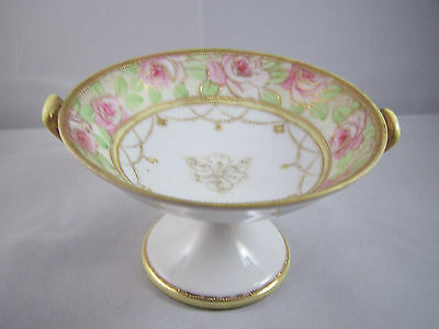 VINTAGE  Royal Crown handled compote Rose and Gold Moriage detailing