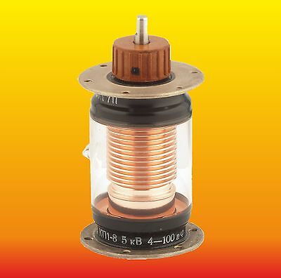 (4-100) pF 5 kV 35 A 30 MHz VACUUM VARIABLE TRIMMER CAPACITOR KP1-8 (КП1-8)